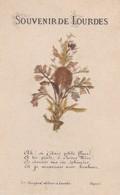 RELIGION---image Pieuse--Souvenir De Lourdes--( Fleurs Séchées )--voir 2 Scans - Images Religieuses