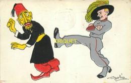 Illustrateur Golia, Soldat Italien Qui Donne Un Coup De Pied à Un Arabe, Carte Pas Courante, 1912 - Autres Illustrateurs