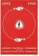 MILANO XVII GIORNATA FILATELICA UNIONE FILATEL LOMBARDA 1942 ERINNOFILO ANN FDC - Collector Fairs & Bourses