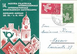 MERANO XIVa MOSTRA FILATELICA INTERNAZ 1961 ERINNOFILO ANNULLO FDC - Collector Fairs & Bourses