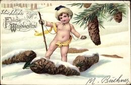 Cp Glückwunsch Weihnachten, Kind, Tannenzapfen - Noël