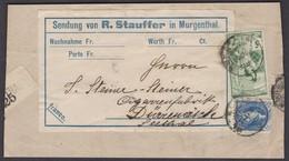 AG   MURGENTHAL  /  SUPER UPU FRANKATUR AUF PACKET-PAPIER AUSSCHNITT / MARKEN 73D UND 77C - 1882-1906 Armoiries, Helvetia Debout & UPU
