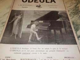 ANCIENNE PUBLICITE PIANO MODELE ODEOLA 1922 - Autres