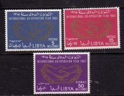 LIBYA LIBIA UNITED KINGDOM REGNO UNITO 1965 ANNO DELLA COOPERAZIONE INTERNAZIONALE COOPERATION YEAR  SERIE SET MNH - Libia