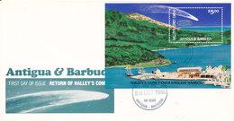 Attigua Barbuda FDC 22-10-1986 Return Of Haley's Comet Souvenir Sheet With Cachet - Antigua Et Barbuda (1981-...)
