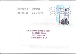TP N° 5327 SUR LETTRE DE 2019 POUR L'ANGLETERRE - Postmark Collection (Covers)
