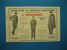 (1931) Manufacture De Vêtements - L. THIAUCOURT - Rue Des Tiercelins - Ateliers à Nancy Et à Frouard - Advertising