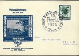 """1938 Deutsches Reich Sonderpostkarte """" Volksabstimmung 10.April 1938 """" Burgenland - Postwaardestukken"""