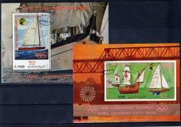 Olympiastadt Kiel 1972 Segeln Yemen Blocks 170+171 O 15€ Olympia Bloque Hoja Ss Olympic Blocs Painting Sheet Bf YAR - Transport