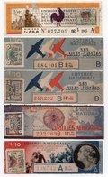 - 5 SOUCHES DE BILLETS DE LOTERIE NATIONALE 1945 - VICTIMES DE LA GUERRE - AILES BRISÉES - PRISONNIERS... - Biglietti Della Lotteria