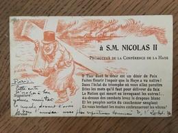 """Cpa, Illustrateur Villette, """"à S.M Nicolas II, Promoteur De La Conférence De La Haye"""",  1901, Timbre, Tsar, Russie - Russland"""