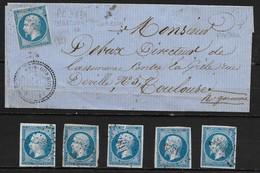 FRANCE N° 14 LETTRE PETIT CHIFFRE 3834 + 5 DETACHES ( VOSGES (82) - 1853-1860 Napoleone III