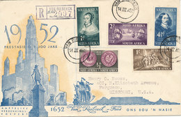 South Africa Registered FDC 14-3-1952 Landing Of Jan Van Riebeeck At The Cape Of Good Hope Set Of 5 With Cachet - South Africa (...-1961)