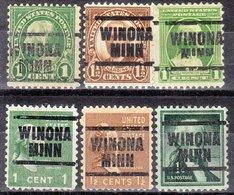 USA Precancel Vorausentwertung Preo, Locals Minnesota, Winona 203, 6 Diff., Perf. 11x10 1/2 - Vereinigte Staaten