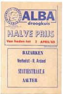 Pub Reclame - Droogkuis ALBA - Bazarken  Verhelst Ardeel - Aalter 1965 - Publicités