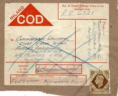 """WWII - étiquette De Colis Affr. 1 Sh. De Londres Pour Le """" Commandant Leonetti, Chef D'Etat Major Des F. A F """" - WW II"""