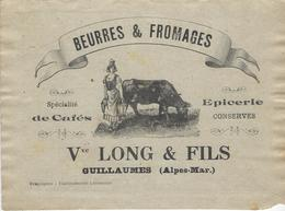 06 GUILLAUMES BUVARD PUBLICITE EPICERIE LONG & FILS BEURRES FROMAGES CAFES CONSERVES ALPES MARITIMES - Alimentaire