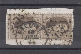 COB 14 En Paire Oblitération à Points 157 + Double Cercle GRUPONT - 1863-1864 Medallones (13/16)