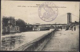 Guerre 14 Cachet Train Sanitaire SP N°4 Est Gestionnaire CPA Creil Pont Suspendu CAD Ambulant Gournay En Bray à Beauvais - Marcophilie (Lettres)