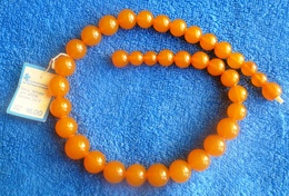 Vintage Kaliningrad Jewelry YAK With Original Label Baltic Amber Gems Necklace Round Beads - Necklaces/Chains