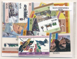 OFFER   Lot Stamp  San Kitts 100 Sellos Diferentes  (mixed Condition) - Sellos