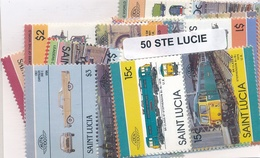 OFFER   Lot Stamp  Santa Lucia 50 Sellos Diferentes  (mixed Condition) - Sellos