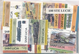 OFFER   Lot Stamp  Santa Lucia 100 Sellos Diferentes  (mixed Condition) - Sellos