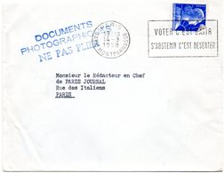 PARIS GARE MONTPARNASSE 1958 = FLAMME SECAP Thème ELECTION ' VOTER C'EST BATIR / S'ABSTENIR C'EST DESERTER ' - Marcofilia (sobres)