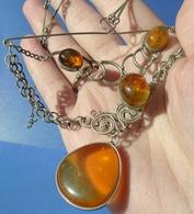 Vintage Jewelry Honey Cognac Natural Baltic Amber Cabochon Gem PENDANT Necklace 25g #32j - Necklaces/Chains