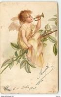 Clapsaddle - Ange Jouant Du Clairon Sur Une Branche - Anges
