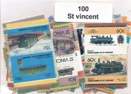 OFFER   Lot Stamp  San Vicente 100 Sellos Diferentes  (mixed Condition) - Sellos