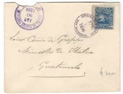 COVER OFICINA DE FARDOS POSTALE-  SAN SALVADOR - 1896 - MINISTRI DE ITALIA - GUATEMALA. - Salvador