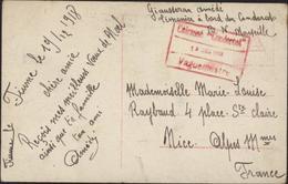 Guerre 14 Marine Cachet Rouge Cuirassé Condorcet 19 12 18 Vaguemestre Ecrite à Fiume Italie FM Franchise Militaire - Storia Postale