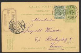 """EP Au Type 5ctm Vert + N°56 Obl Simple Cercle """"Lichtervelde"""" Vers Vienne / Fabriquant De Parapluies. - AK [1871-09]"""