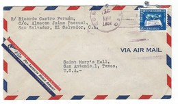 COVER CORREO AEREO SAN SALVADOR - VIA PAN AMERICAN WORLD AIRWAYS - SAN NANTONIOS - TEXAS. - Salvador