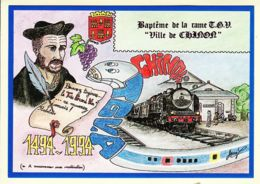X37050 Peu Commun Baptême De La RAME TGV ATLANTIQUE Ville CHINON RABELAISIE 7 Mai 1994- PORCHEROT TULASNE Cptrain - Chinon