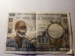 BILLET DE 5000 FRANCS 1965 BANQUE CENTRALE DES ETATS DE L'AFRIQUE DE L'OUEST TRES RARE !! - États D'Afrique De L'Ouest