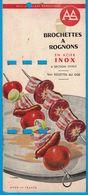 CARTON BROCHETTES A ROGNONS EN ACIER INOX A SECTION OVALE VOIR RECETTE AU DOQ MADE IN FRANCE - Publicités