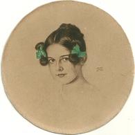 Franz Von Stuck Portrait De Jeune Fille (sa Fille) Gravure Eau Forte ? Avec Rehauts De Verts - Prints & Engravings
