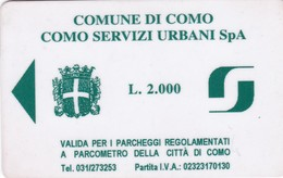 CITTA DI COMO SERVIZI URBANI CARD PARCHEGGI - Biglietti D'ingresso