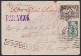 Affranch. Mixte (émission 1915, N°145 / Perron De Liège) Sur Lettre Par Avion De Bruxelles (1921) Vers Surbiton (Anglete - 1915-1920 Albert I