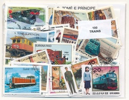 OFFER   Lot Differents Theme / Topics - Paqueteria  100 Diferentes Trenes  - U - Mezclas (max 999 Sellos)