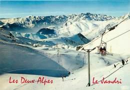 38 - Les 2 Alpes - Le Télésiège De La Toura, Les Crêtes, Le Signal De L'Homme Et La Chaîne De Belledonne - Hiver - Neige - France