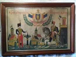 Souvenir Du Régiment Des Guides De La Garde Impériale Au Guide Chabert Dessin à La Plume Aquarellé Second Empire - Documentos