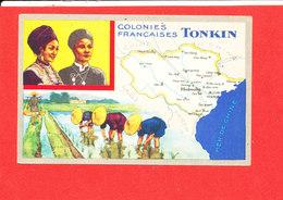 TONKIN Colonies Françaises Cpa Animée Carte Géographique - Vietnam