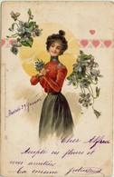 Illustratore - Donnina Romantica - Liberty-Art Nouveau - VIAGGIATA-Rif. 296 Ill. - Ilustradores & Fotógrafos