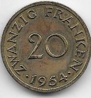Sarre - 20 Franken - 1954 - Sarre