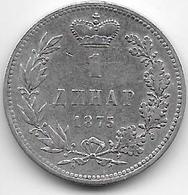 Serbie - 1 Dinar - 1875 - Argent - Serbia