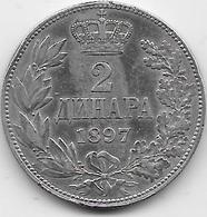 Serbie - 2 Dinara - 1897 - Argent - Serbia