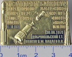 151 Space Russia Pin. Kosmodrom Baykonur. Space Station Salyut-1 Spaceship Soyuz-11 - Space